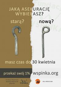Plakat - jeden procent na rzecz programu bezpieczna WSPINKA. Rozdzielczość 200x283px