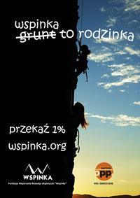 Plakat - jeden procent na rzecz programu rodzinna WSPINKA. Rozdzielczość 200x283px
